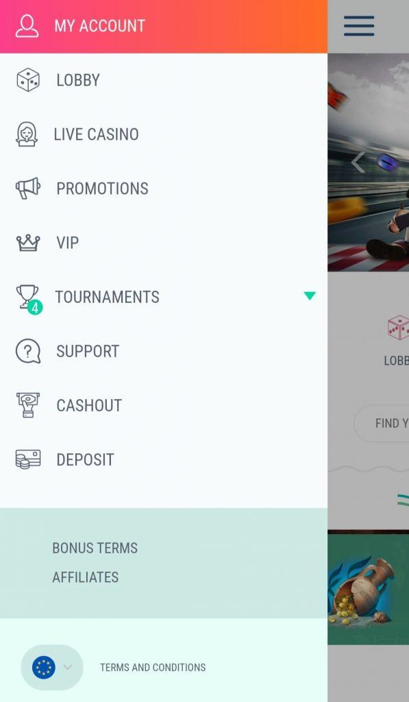 The menu in the mobile Spinia Casino