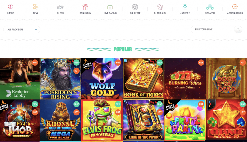 Popular Games on the Spinia website